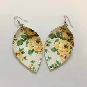 Handmade Faux Leather Floral Earrings